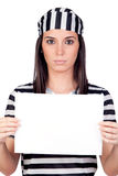 Serious prisoner with blank paper Royalty Free Stock Photography