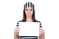 Serious prisoner with blank paper Stock Images