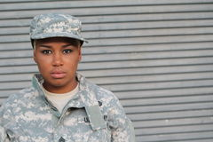 Serious Proud Black Female Soldier stock photo