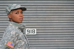Serious Proud Black Female Soldier with Space for Copy royalty free stock images