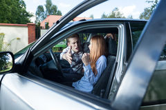Serious quarrel in a car Royalty Free Stock Images