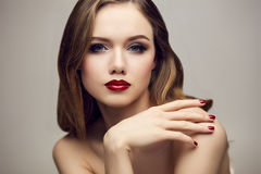 Serious red lips girl Royalty Free Stock Photo