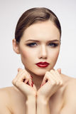 Serious red lips girl Royalty Free Stock Photos