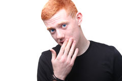 Serious redhead boy. With deep blue eyes stock photo