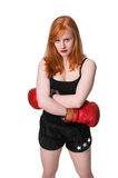 Serious redhead woman boxer Stock Photo