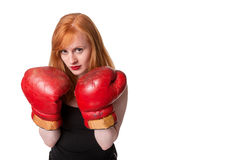 Serious redhead woman boxer Stock Images