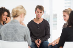 Serious rehab group at a session Stock Photo