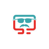 Serious retro man icon vector illustration. Royalty Free Stock Photo