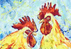 The Serious roosters. Gouache technique Royalty Free Stock Photography