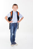 Serious school boy isolated on white Royalty Free Stock Photography