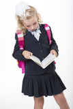 Serious school girl reads a book Royalty Free Stock Photos