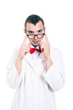 Serious scientist. Portrait of serious scientist in lab coat and eyeglasses, isolated on white background Stock Photography