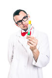 Serious scientist with test tube Royalty Free Stock Photography