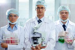 Serious scientists Stock Image