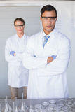 Serious scientists looking at camera arms crossed Royalty Free Stock Images