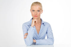 Serious secretary woman on isolated background Stock Photo