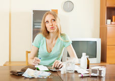 Serious sickness  woman with medications  and money Royalty Free Stock Image