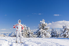Serious skier on the top of mountain Royalty Free Stock Image