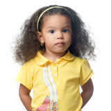 Serious small afroamerican girl. Isolated on white royalty free stock images