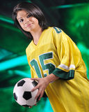 Serious Soccer Fan Stock Photography