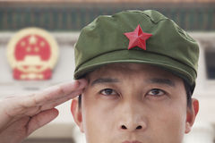 Free Serious Soldier Saluting, Close Up, China Stars In Background Stock Image - 31108641
