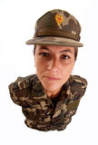 Serious staring female soldier Stock Photo