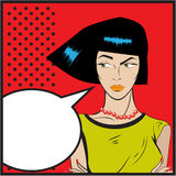 Serious strict woman backdrop retro Pop Art illustration of girl with the speech bubble.Pop Art girl. Royalty Free Stock Photo