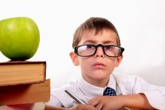 Serious student. Serious Little boy at school studying royalty free stock images