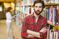 Serious student in the library Royalty Free Stock Images