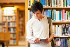 Serious student reading a book. In a library Royalty Free Stock Images