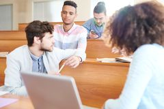Serious students discussing last news royalty free stock photos