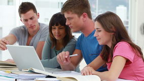 Serious students working together while sitting Royalty Free Stock Photography