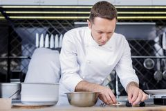 Serious talented cook making a dish delicious royalty free stock photos
