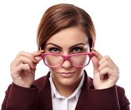 Serious teacher with glasses Royalty Free Stock Images