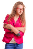 Serious teen gir. L in glasses. showing hand gestures. portrait isolated on white background Stock Photos