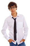 Serious teenager in black glasses Royalty Free Stock Photo