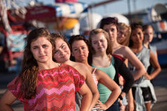 Serious Teenager with Friends Stock Images