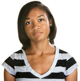 Serious Teenager in Striped Shirt Stock Images