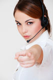 Serious telephone operator Royalty Free Stock Images