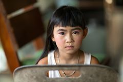 Serious Thai little girl Royalty Free Stock Image