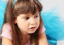 Serious Thinking Little Girl Portrait Stock Images