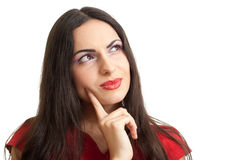 Serious thinking women solving problem Royalty Free Stock Photos