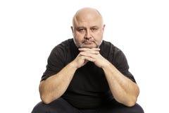 Serious thoughtful bald man stock photos
