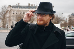 Serious Thoughtful Bearded Man in Hat Royalty Free Stock Photos