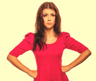 Serious thoughtful woman she thought gloomy isolated large cross Royalty Free Stock Image