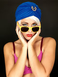 Serious Thoughtful Young Woman Looking Pensive in Yellow Sunglasses Stock Photos