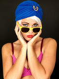 Serious Thoughtful Young Woman Wearing Yellow Sunglasses Royalty Free Stock Image