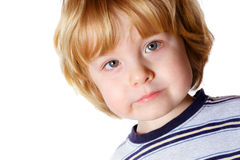 Serious Thoughts. A toddler boy with a serious expression Royalty Free Stock Photos