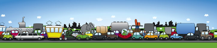 Serious traffic jam. Wide horizontal format stock illustration