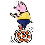Serious vector pig balancing on caramel electric self-balancing scooter. vector illustration